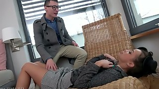 Kinky dude fucks Ukrainian hottie Daphne Klyde without taking off her panties and skirt