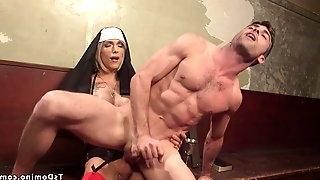 Tranny nun punishing ass fuck male prisoner