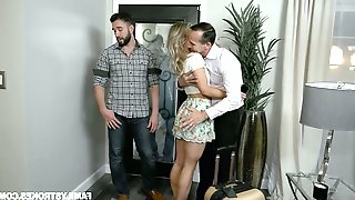 Dude finger fucks pussy of sleeping brothers wife Kate Kennedy and she gives him a blowjob