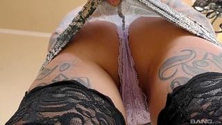 Hardcore fucking with tattooed pornstar Karma RK in stockings