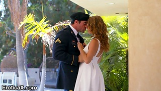 Beautiful lady gives a blowjob to her man in marine ribbon uniform