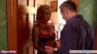 Lustful daddy fucks tattooed nanny relating to fake boobs Kleio Valentien