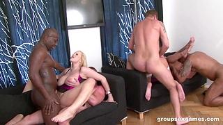 Double penetration interracial group sex with Gabriella Daniels