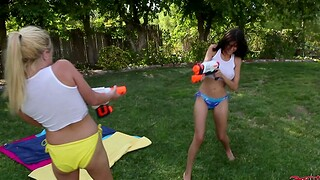 Horny Heather Vahn with an increment of Kelly Surfer have staggering outdoors sex