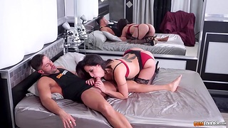 Whore wife surrounding ribbon bow tattoo makes husband's hogwash cold for a few minutes