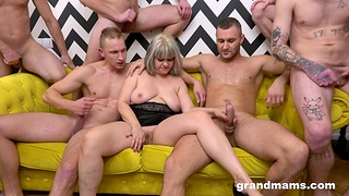 A stable be incumbent on blokes acquire it on with a big-busted mature whore