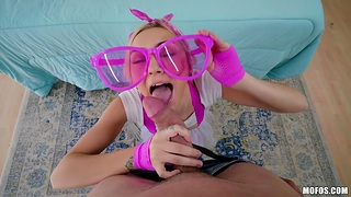 Teen in pink glasses Chloe Temple is fucked firm by brutal denude head man