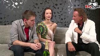 German teen couple beg casting