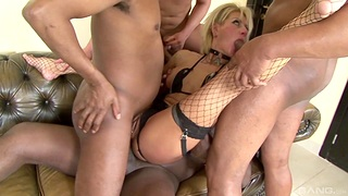 Tow-haired MILF roughly fucked for a complete gangbang