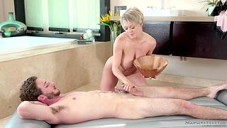 Cougar masseuse Dee Williams gives a nuru pleasure to young guy Lucas Deep-freeze