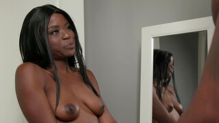 Ebony darling Melody Cummings masturbates with an increment of rides a black cock
