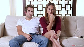 Voluptuous babe Sara Luvv gives her head and byway son a big cock