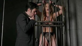 Adira Allure wearing black underclothing enjoying in BDSM with her BF