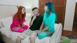 Unforgettable 3some fuck with red-hot haired and blue haired babes Jewelz Blu and Lacy Lennon