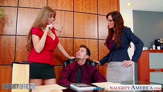 Afternoon office sex with four bodacious matures Darla Crane and Syren De Mer
