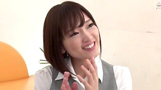 Japanese girl respecting small tits being fucked everlasting in the office